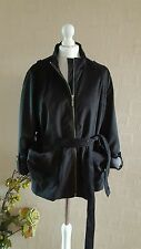 M&S PER UNA FAUX JACKET FULLY LINED ROLL UP DOWN SLEEVES BLACK UK 18 BRAND NEW