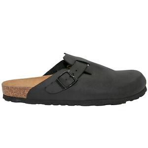 1Paar Clogs aus Leder in schwarz   Hausschuhe Pantoletten Pantoffel Klogs