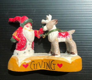 "Vintage House of Hatten 1998 santa and reindeer ""Giving"" artist D CALLA"