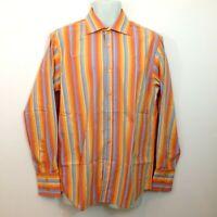 Roar Shirt Mens Sz Large Orange Blue Striped Button Front Long Sleeve Flip Cuff