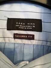 "Mens Light Blue Pin Stripe Small Smart Long Sleeve Shirt Zara 36"" Chest"