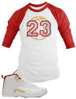Baseball Tee Shirt to Match Air Jordan 12 FIBA Shoe Custom 23 History of Flight
