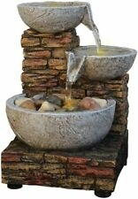 Soothing Relaxing Cascading Bowl Brick Table Water Fountain LED Dual Power ZEN