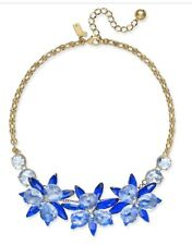 $148 KATE SPADE Blue Blooming Brilliant Crystal flower  Necklace  #177k