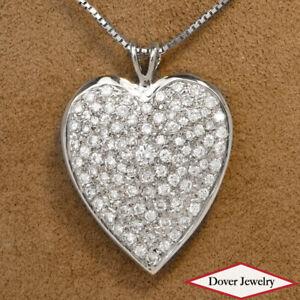 Estate 3.00ct Diamond 18K Gold Heart Cluster Dangle Pendant 9.1 Grams NR