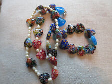 Lovely Murano Italian Art Glass Bead Necklace Millefiori Heart and Pearls