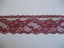 CRAFT-SEWING-LACE 3mtrs x 45mm Dusty Burgundy Floral Scallop Design Lace