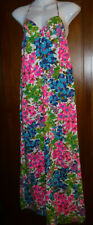 Vtg Mod Floral Print Spaghetti Strap Full length Dress Patsi by Miss Pat Xs