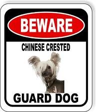 Beware Chinese Crested Guard Dog Metal Aluminum Composite Sign