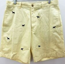 J Crew Mens Sunwashed Oxford Novelty Dog Shorts Sz 34  Yellow Navy Cotton