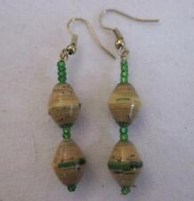 "Drop Dangle 2.5"" Earring  Tan Green Mix  Recycled Paper Green Beads Gold Wires"