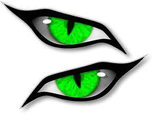 Pair Of EVIL Eyes Eye in GREEN vinyl car Motorbike Helmet Sticker Decal 70x30mm