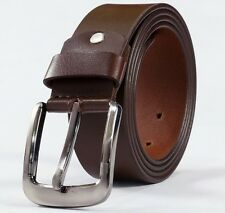 Leather Mens Belt Belts Real New Genuine Buckle Trouser Sizes Brown Black Jeans