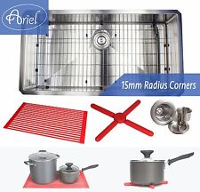 "Ariel 36"" 15mm Radius Square Stainless Steel Single Bowl Kitchen Sink Combo 16G"