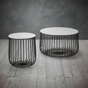 Black Metal Set of 2 Cage Tables - Coffee / Side Lamp Table Modern Marble Enzo