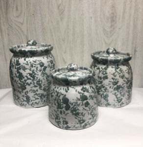 Bybee Pottery Set of 3 Spongewear Canisters with Lids Green Speckled Signed
