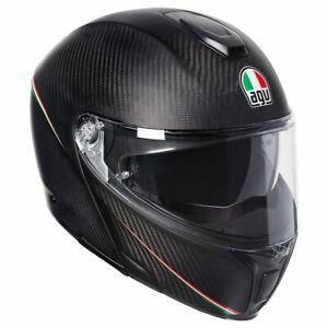 AGV Sports Modular Tricolore Matt Carbon / Italy Flip Front Motorbike Helmet
