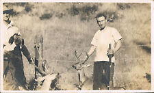 RPPC Real Photo Postcard ~ Men Rifle Dog & Deer ~ Hunters  Hunting