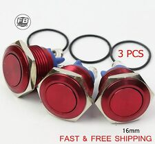 3pcs 16mm Waterproof Starter Switch Boat Momentary Button Stainless Steel Red