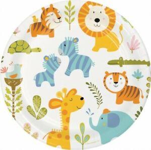 Happy Jungle 9 Inch Paper Plates 8 Pack Paper Kids Children Tableware Birthday