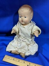 "Rare Antique Jointed Arms Legs Composition Baby Doll Seated 10"" VTG Clothing"