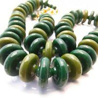 Green Bead Necklace Vintage Plastic Costume Jewelley 1960s