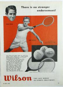 Vintage 1948 JACK KRAMER & BOBBY RIGGS Tennis Wilson Racket Print Ad