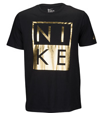 NIKE MODERN BLACK/GOLD GRAPHIC TEE T SHIRT MENS MEDIUM NWT