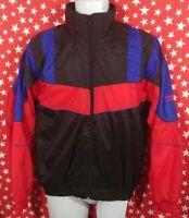 Men's Vintage 90s Spalding Color Block Lined Nylon Full Zip Windbreaker Jacket S
