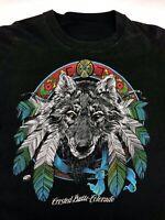 Vintage Mens M/L 80s 90s Crested Butte Colorado Wolf Indian Souvenir T-Shirt