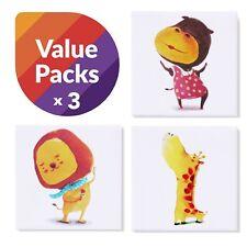 "Kids Room Decor Canvas Art Print Animal Themed Set of 3 5.9""x 5.9"" Baby Nursery"