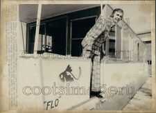 1974 Detroit Tigers Baseball Player Jim Perry on Trailer Houseboat Press Photo