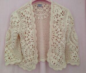 Oasis cream cotton crochet shrug, size 14