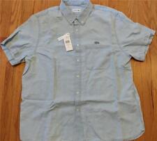 Authentic Lacoste Cotton/Linen SS Button Up Shirt Light Blue 45 XL/2XL