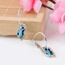 1Pair Blue Rhinestone Crystal Enamel Butterfly Dangle Hoop Earrings GIFT WOMEN