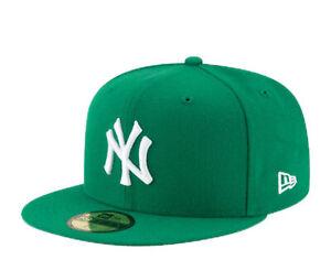 New Era 59Fifty MLB New York Yankees Green Basic Fitted White Hat 11591124