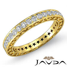 Round Pave Diamond Star Eternity Wedding Ring 14k Yellow Gold Womens Band 0.45Ct