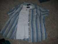 Lovely NWT Twinset White Tank Top & Blue Striped Blouse Size 1X Lightweight