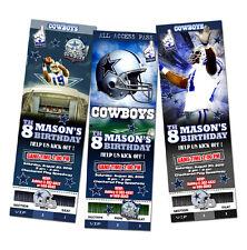 DALLAS COWBOYS TICKET BIRTHDAY PARTY INVITATION FOOTBALL NFL CUSTOM ANY TEAM 1st