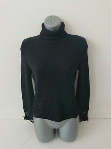 Nougat London Size 2 (Uk10) Black Roll Neck Silk Lace Embellished Wool Jumper