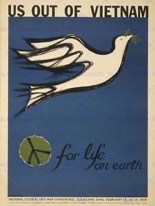 PROPAGANDA PROTEST PEACE DOVE VIETNAM WAR STUDENT CONFERENCE POSTERBB6851B