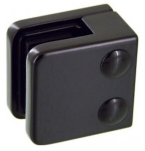 Black Glass Clamp - Square 45 x 45mm for 10mm Glass - Flat Back RAL 9005