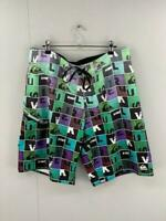 Quicksilver Mens Black Green Purple Flat Front Drawstring Board Shorts 32