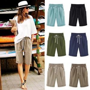 Ladies Combat Chino Cargo Shorts Knee Length Summer Holiday Pants Plus Size