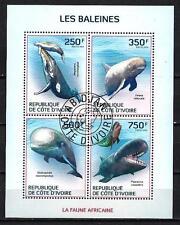 Animaux Baleines Cote d'Ivoire (209) série complète de 4 timbres oblitérés