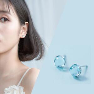Simple Glass Crystal Earrings Fashion Drop Statement Blue Women CB