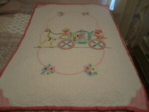 Vintage Hand Stitched Quilted & Appliqued Slumberland Express Baby Quilt