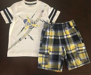 NWT Gymboree Boy Cape Cool White Airplane Tee & Paid Shorts Outfit 4 7
