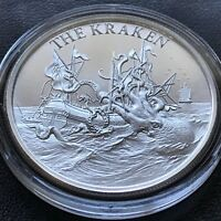 2018 THE KRAKEN 1 oz .999 Fine Silver High Relief Folklore Sea Monster Ship