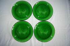 Lot of 4 forest green Sleigh Ride salad dessert glass plates Arcoroc France EUC